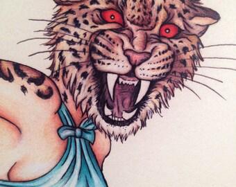Pinup Burlesque Artwork Leopard Woman (Mature) Art Print 11x14