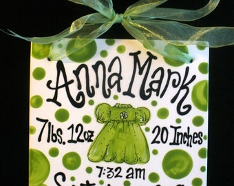 Ceramic Hand Painted Birth Announcement Tile 8x8 with Ribbon