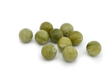 khaki green jade 8 mm 10 beads