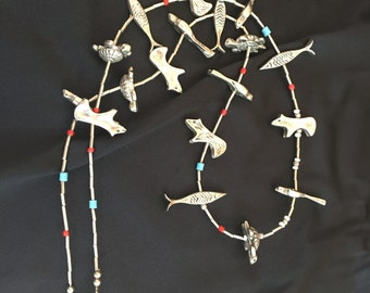 Navaho necklace, vintage, silver and turquoise, animal motif