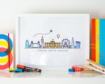 London Skyline Artwork. I love London City Art. Cityscape Wall Decor. Vector art by CoconuTacha.