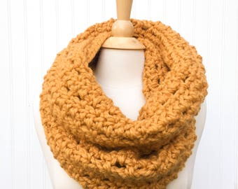 Super chunky scarf, mustard yellow scarf, crochet infinity scarf, oversized scarf, warm winter scarf, gift for her, womens scarf