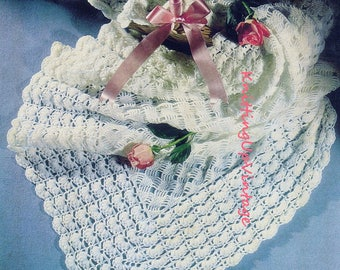 Baby Crochet Pattern PDF Vintage Shawl 3 ply