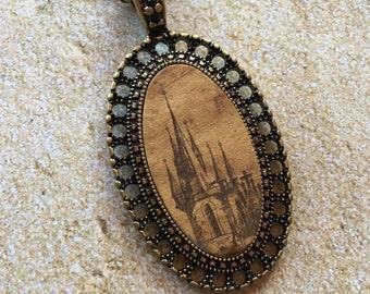 Metal Pendant with Fairytale Castle, Metal Necklace, Jewelry, Castle, Fairytale, Womens Jewelry, Vintage Look, For Her
