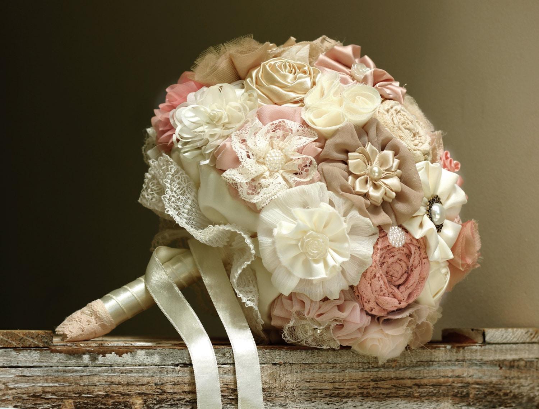 Bridal Bouquet Blush Tans Bouquet Fabric Flowers Bouquet