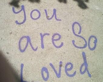 love photo, self-love art, love photography, graffiti quote, sidewalk writing, tagging, cement, purple and gray, shadows, wall art, teens