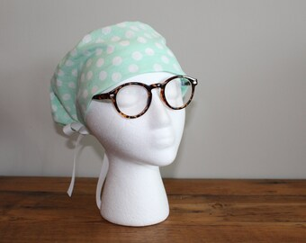 White and Mint Green Polka Dot Surgical Scrub Hat