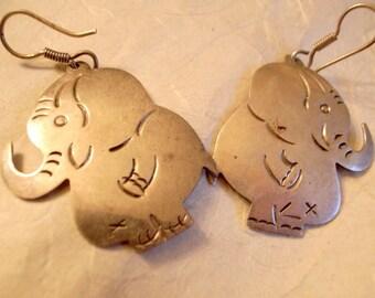 Taxco Vintage Taxco Elephant Earrings - Sterling Silver - Adorable Big Bashful Elephant Earrings - SALE Taxco  Silver