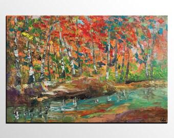 Oil Painting Landscape, Canvas Art Painting, Extra Large Painting, Original Painting, Impasto Art, Autumn Tree Painting, Heavy Texture Art