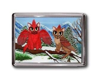 Cardinal Cats Magnet Bird Cats Winter Fantasy Cat Art Framed Magnet Gifts For Cat Lovers