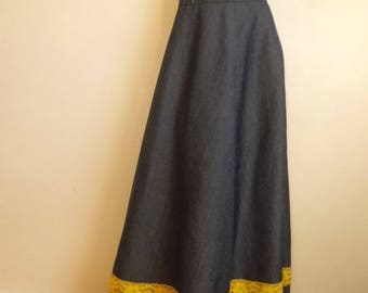Long skirt in denim and lace t36