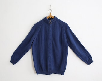 Vintage O ring Zip up Hand Knitted Wool Cardigan