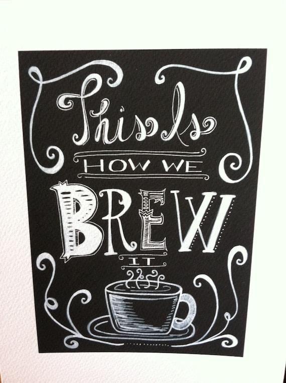 Items Similar To Fun Funky Chalkboard Coffee Kitchen Art