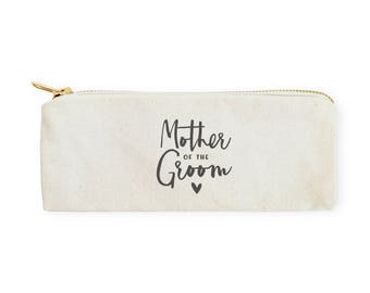 Mother of the Groom Cotton Canvas Pencil Case and Travel Pouch for Back to School, Supplies, Teen Gifts, Zipper Pouch, Makeup Bag, Gift Bag
