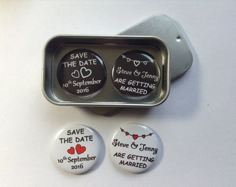 Personalised, Custom, Wedding Save The Date Magnet Gift Set, complete with Gift Tin. Larger Quantities Available, Handmade, Unique