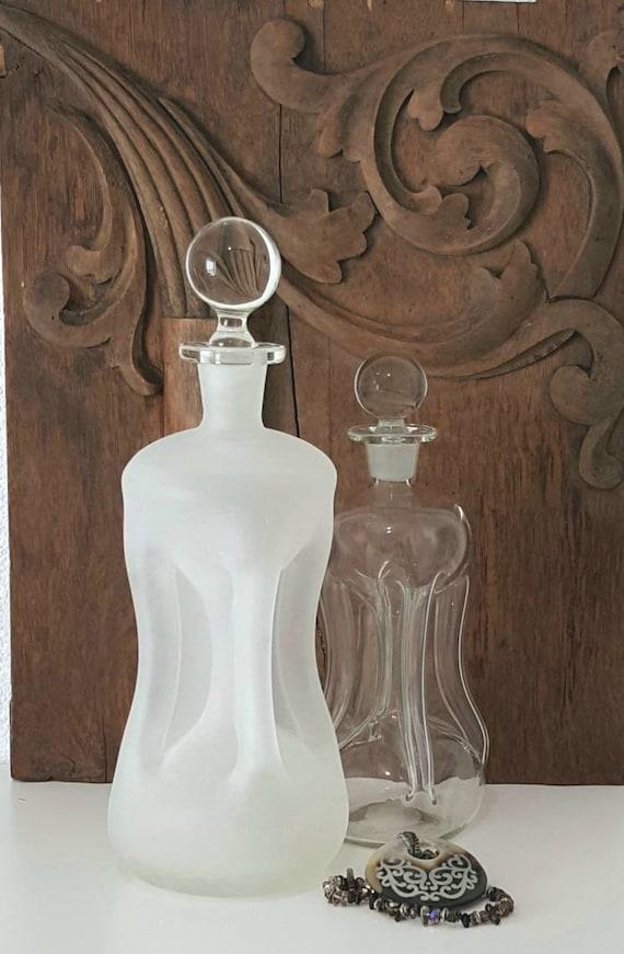 Danish Modern Frosted Glass Kluk Kluk Decanter. Mid-Century Modern Liquor Decanter.