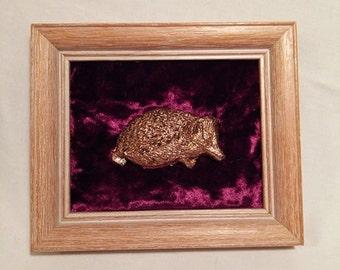 Copper Leaf Hedgehog on Red Velvet