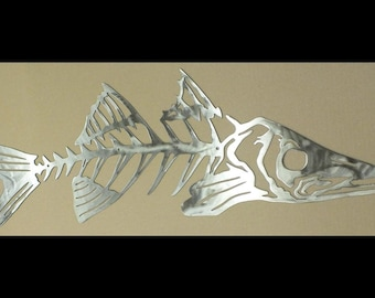 Bone Fish - Fish Skeleton LARGE Metal Wall Art 36 Inches Wide By 12 Inches High - Steel