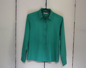Vintage Green Blouse Embroidered Collar Long Sleeve