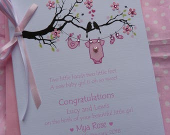 Handmade Personalised New Baby Girl Congratulations Card