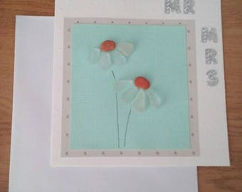 Sea glass wedding card, handmade beach glass daisies, Mr and Mrs card, floral marriage keepsake, romantic wedding greetings, congratulations