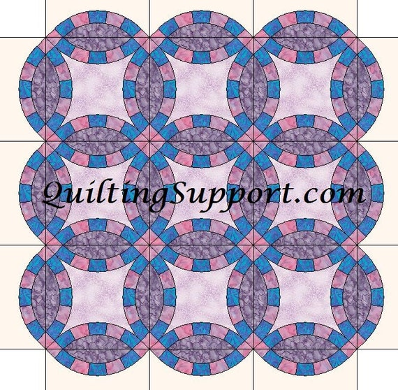 5 Segment Double Wedding Ring Quilt With Scalloped Edges