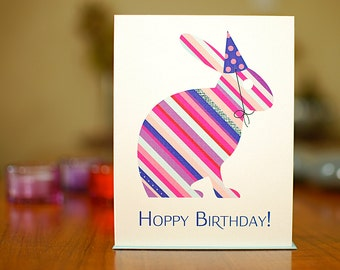 Hoppy Birthday - Striped Rabbit in Party Hat Birthday Card on 100% Recycled Paper
