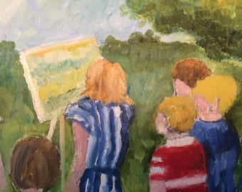 Mini Oil Painting - Girl Painting with Children Watching