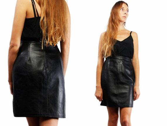 BLACK LEATHER SKIRT / High Waist Skirt / Vintage Leather Skirt / Pencil Leather Skirt / Midi Leather Skirt / Yummy Vintage