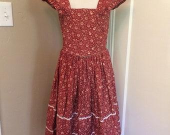 1970's vintage women's homemade boho prairie hippie girl dress. Size XXS/XS