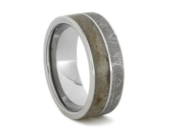 Dinosaur Bone Ring, Meteorite Wedding Band With a Titanium Pinstripe, Customizable Ring