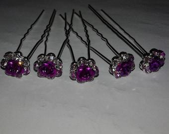 maiee peaks, peaks buns, for hair, Bridal hair pins, hair pins purple, 5 rhinestones and flower hair pins pink 60 mm