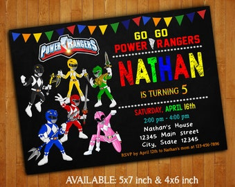 Power Rangers Invitations/Power Rangers Invitation/Power Rangers  Birthday/Power Rangers Digital File /Power Rangers Printable/Power Rangers