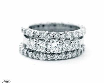 Classic Engagement Ring Set, Five Diamond Wedding Set,Engagement Ring With Full Eternity Bands, Elegant Engagement Ring | LDR02375