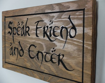 Lord of the Rings - Speak Friend and Enter Wood Carving - Elven Sign - The Hobbit