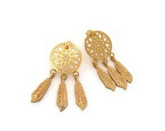 Gold dreamcatcher earrings