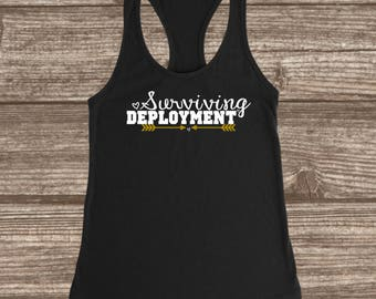 Surviving Deployment Women's Fitted Racerback Tank