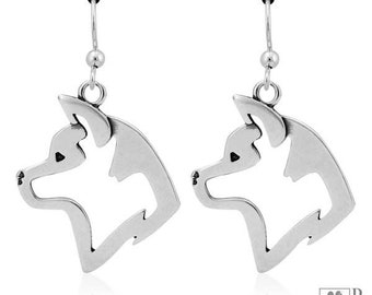 Sterling Silver Akita Head Dog Earrings On French Wires