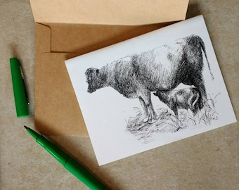 Cow and Calf Note Card/Greeting Card