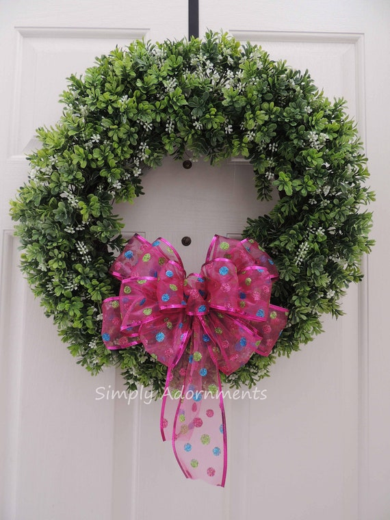 Pink Christmas Wreath Bow PInk Christmas Dots Lantern Swag Bow Hot Pink Multi colored Polka Dots Birthday party decor Christmas Gift Bow