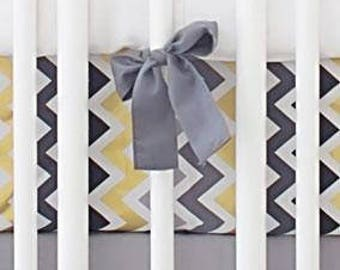 Golden Days in Gray Crib Baby Bedding | Crib Sheet
