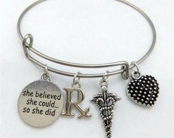 Pharmacist Bracelet, She believed she could so she did, Medical Bracelet, Pharmacist Gift, Bangle Bracelet