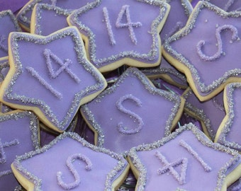 Decorated cookies, Stars, Birthday Cookies