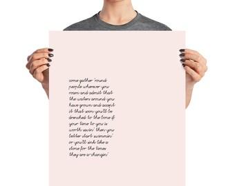 The Times They are a-Changin, Bob Dylan Art Print Poster, Wall Art, Large Art, Quote Print, Minimalist Print, Bob Dylan Lyrics, Political