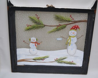 Snowman Window/ Old Window/Painted Window/ Vintage Window/Christmas Window/Holiday Art/Snowman Art/ Shabby Chic/