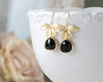 Gold and Black Earrings Jet Black Teardrop Glass Dangle Earrings Black Drop Earrings Gold Orchid Earrings Black and Gold Wedding Jewelry