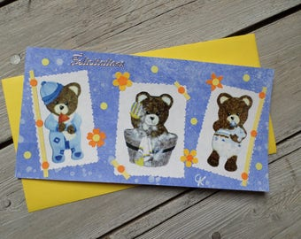 "Congratulations card triple birthstone ""1,2,3...nous here"""