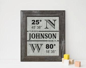 Longitude Latitude Sign, 4th Anniversary Linen gift print, Personalized family print, wedding housewarming gift