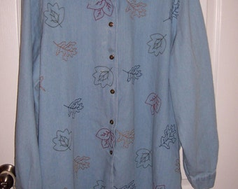 Long Sleeve Denim Blouse, Women Plus Size 3XL, by Nanas Vintage Shop