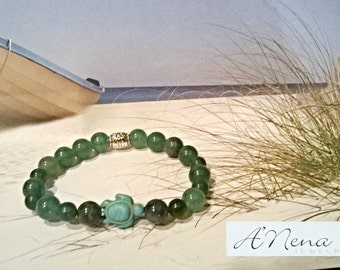 "Men's Bracelet: Genuine Jasper, Aventurine, Turquoise Turtle And Silver Plated Copper ""Nautical Conqueror"" By ANena Jewelry"